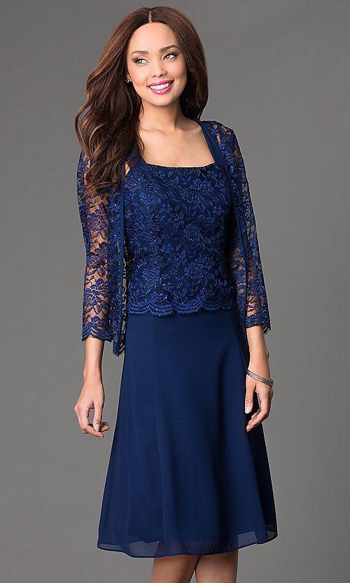 Knee Length Dress With Lace Jacket Knee Length Lace Dress