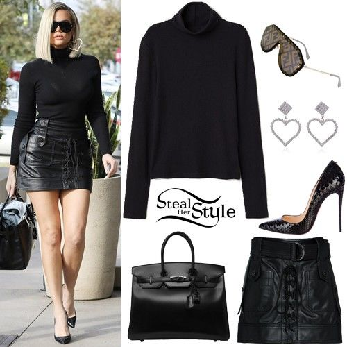 Khloe Kardashian Was Spotted Out And About In Woodland Hills Wearing A Top Similar To The H M Ribbed Turtleneck Top 14 99 Dun Look Sapatos Look Das Famosas