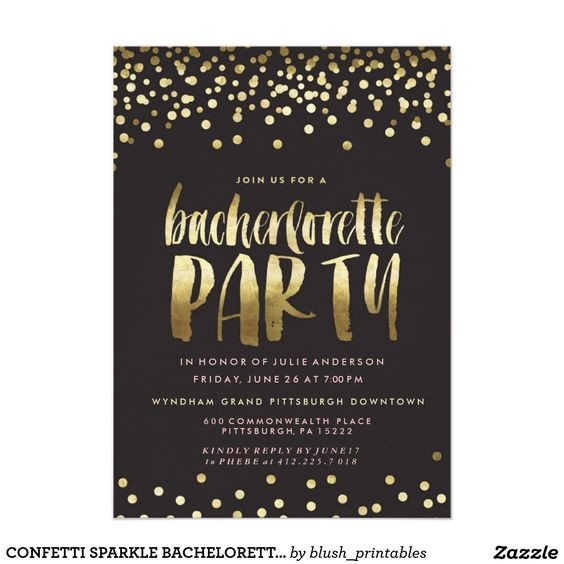 CONFETTI SPARKLE BACHELORETTE PARTY 5x7 INVITATIONS. Artwork designed by blush_printables.