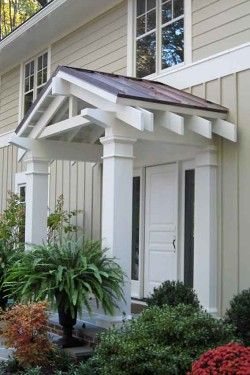 Porticos columns and flat roof on pinterest for Side entrance porch designs