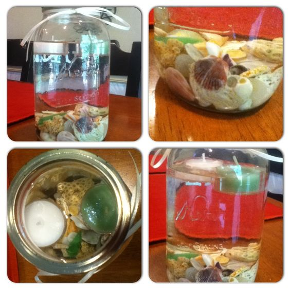 Mason Jar Shell and Candle Centerpiece... Perfect for beach house!