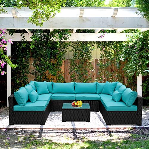 New Outdoor Rattan Sectional Sofa Patio Pe Wicker Conversation Furniture Set 9 Piece Turquoise Online Outdoor Wicker Furniture Outdoor Dining Set Offset Patio Umbrella