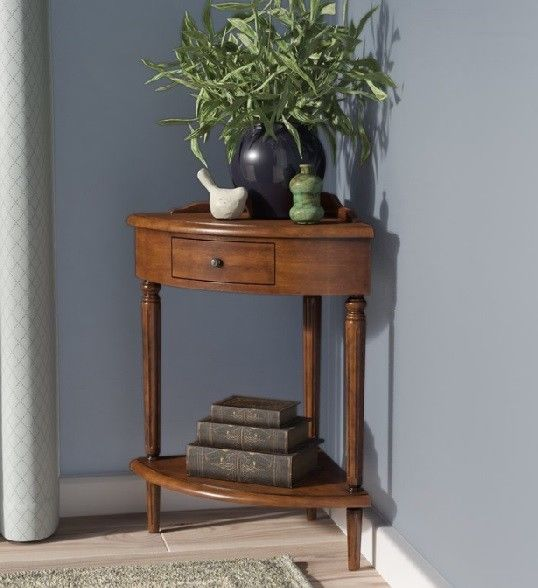 Traditional Small Corner Accent End Phone Table Shelf Drawer Solid Wood Brown End Tables With Storage End Tables Corner Table