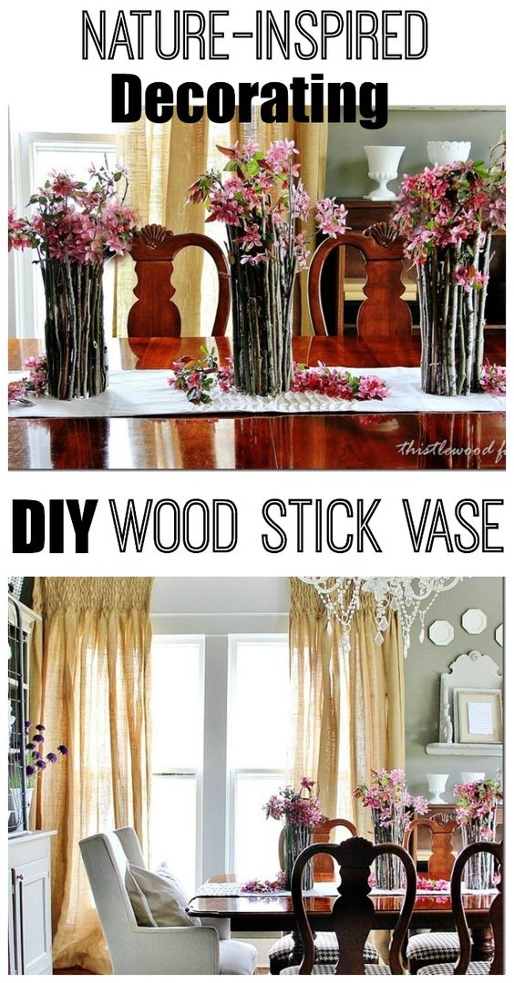 Create this free and easy centerpiece with sticks and hot glue.  Easy DIY nature-inspired project.  thistlewoodfarms.com
