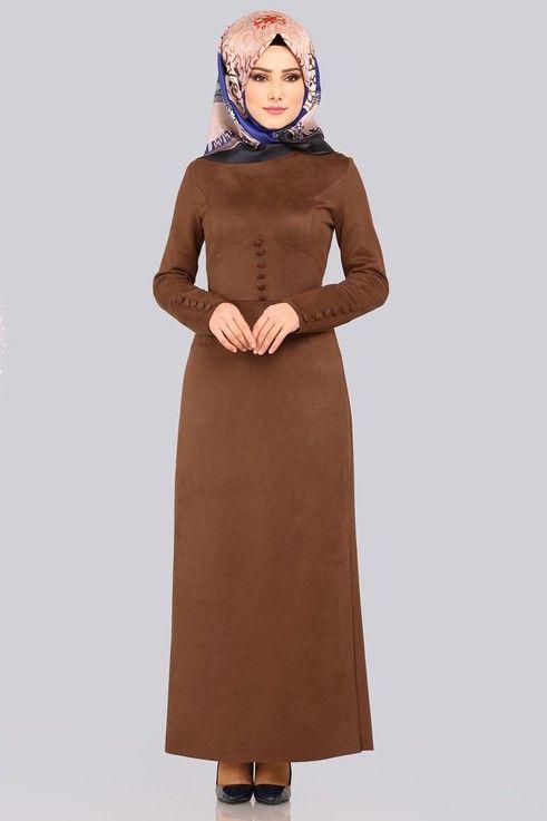Modaselvim Elbise Aksesuar Dugmeli Suet Elbise Ygs6181 Kahve Elbise Dantel Elbise Giyim