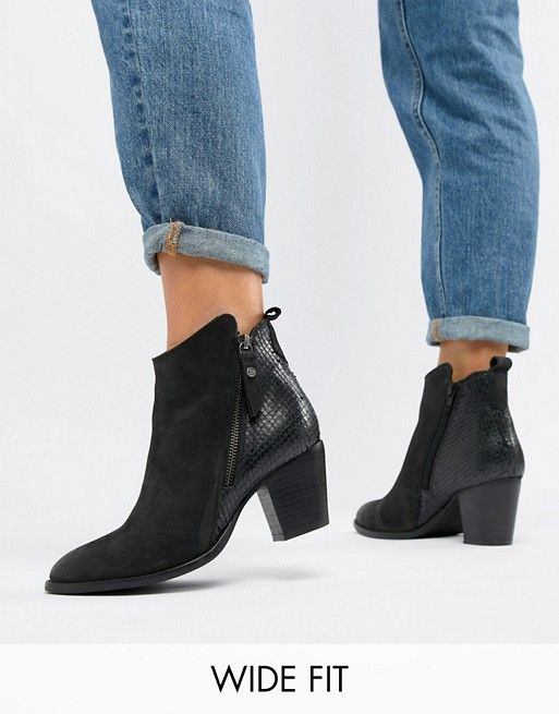 Dune London Wide Fit Pontoon Leather Western Mid Heel Ankle