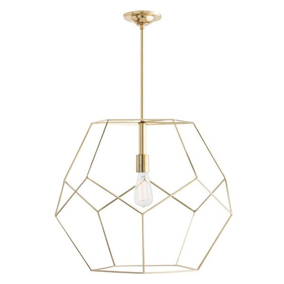 also like this look of a gold geometric chandelier either above stairs or in living room arteriors soho industrial style pendant light fixture