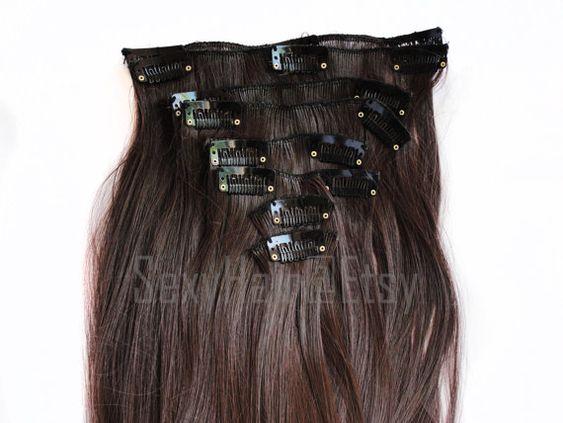 ON SALE 24 Medium Brown Hair Extension Full Head Clip by SexyHair
