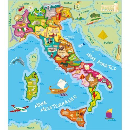 Cartina Dell Italia In Miniatura.Mappa Dell Italia Mappa Dell Italia Bambini Geografia Italia
