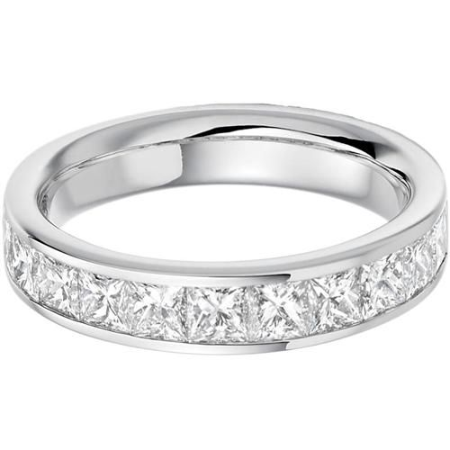 Princess Cut 18ct White Gold Half Eternity/Wedding Diamond Ring - HET1165