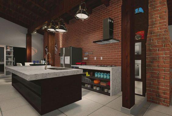 Cozinha com inspiração industrial com um tok de rusticidade. Arquiteta Adriane Quintana