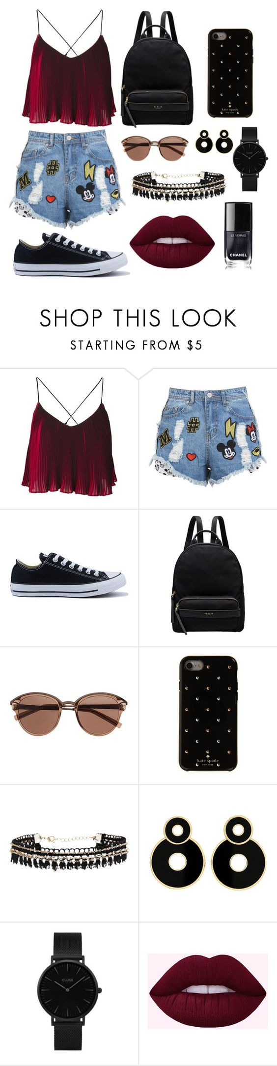"""Untitled #2"" by soninha97 on Polyvore featuring Disney Stars Studios, Converse, Radley, Witchery, Kate Spade, CLUSE and Chanel"