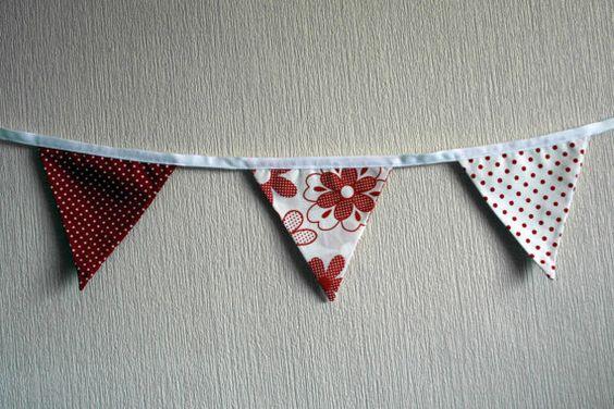 Valentine's Red & White Bunting by BlossomvioletCrafts on Etsy