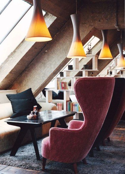 There's a retro sixties touch to the deep chairs at reception at London's Shoreditch House.