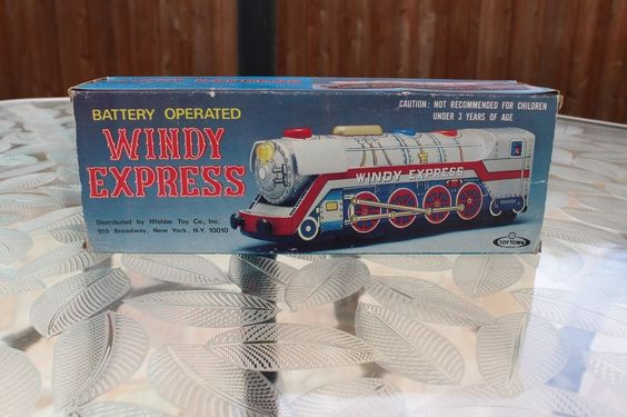 Vintage Windy Express Toy Train Battery Operated Tin Litho Toy Town Japan NIB #ToyTown