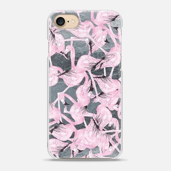 Casetify iPhone 7 Snap Case - Pink Flamingo Mash On Silver by Zara ...