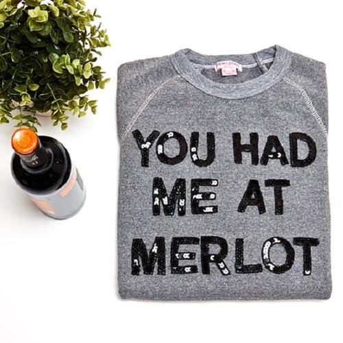 You Had Me At Merlot Grey Sweatshirt w/ Black Sequins