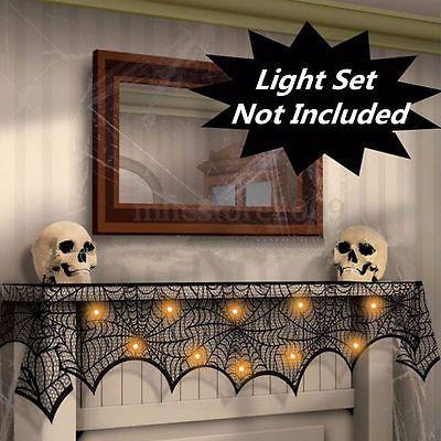 1x Halloween Props Tool Mantel Door Window Decor Black Spider Cobweb Wed Lace