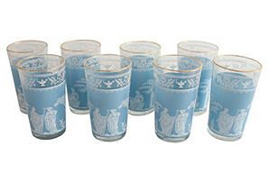 Grecian Motif Glasses, Set of 8 milky blue-love it!