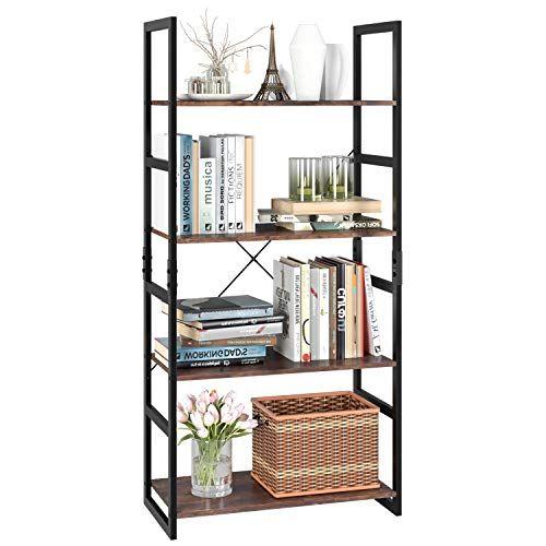 Homfa Bookshelf Rack 4 Tier Vintage Bookcase Shelf Storage Organizer Modern Wood Look Accent Metal Frame Furniture H In 2020 Vintage Bookcase Bookcase Shelves Bookcase