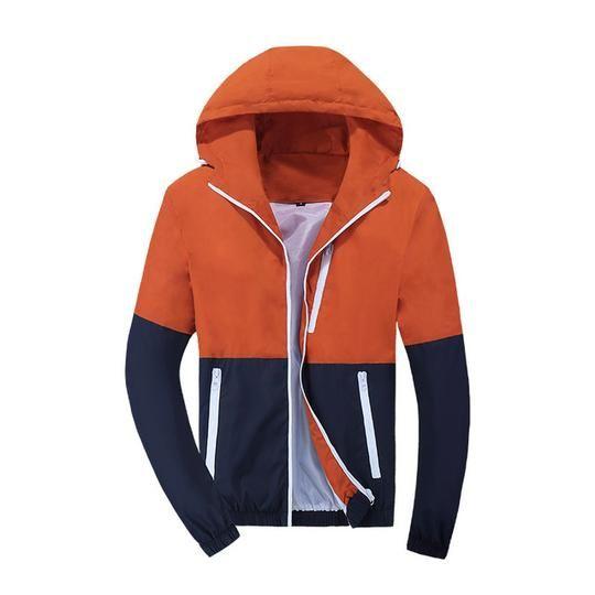 Windbreaker Hooded Casual Jackets for Men Orange S