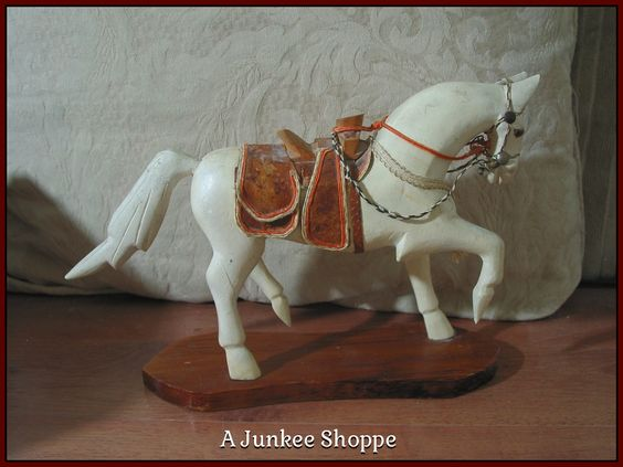 WOOD HORSE Small White Desk Or Shelf Decoration With Wooden Saddle Junk 949  http://ajunkeeshoppe.blogspot.com/