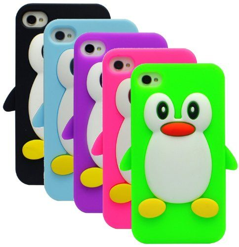 Funda de silicona - pingüino - para Apple iPhone 4 4S