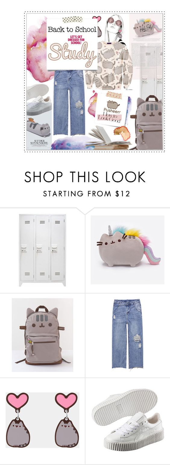 """""""⤷ 195 / #PVxPusheen"""" by lovaconsultancy ❤ liked on Polyvore featuring Pusheen, Puma, Post-It, Industrie, contestentry and PVxPusheen"""