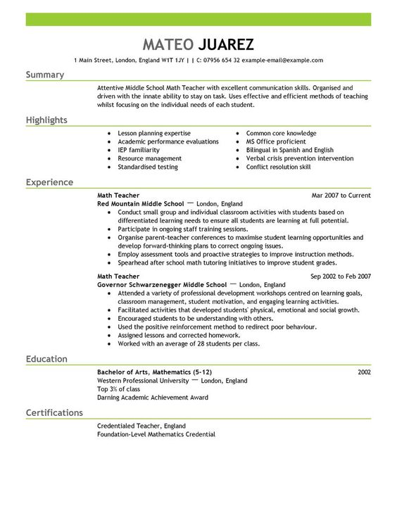 Teacher Resume Builder Template Big Teacher Example Emphasis 2 Design Teacher  Resume Pinterest Resume Examples Teacher  Educator Resume