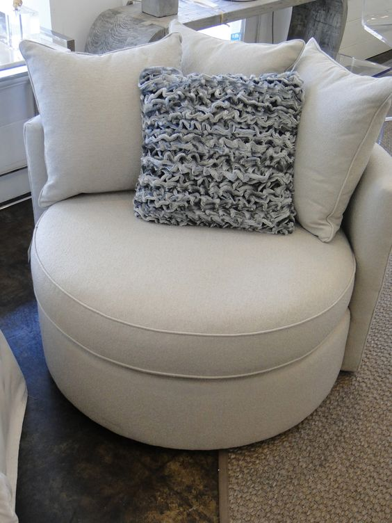 Mitchell Gold Jeanette Round Swivel Chair in Ayers - Dove (360 degree capabilities)