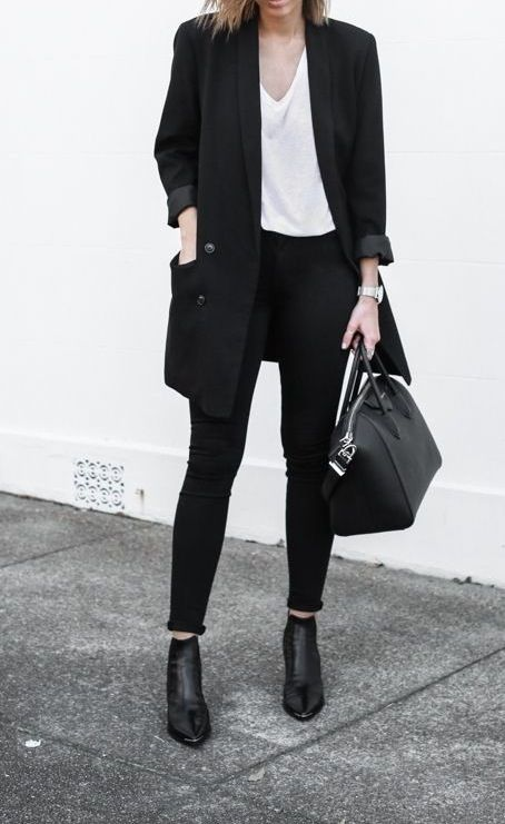 Black outfit with white t-shirt