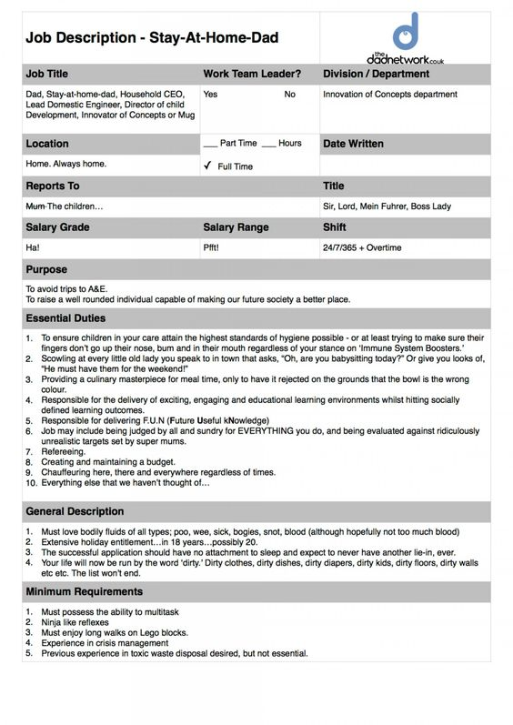Become a Stay At Home Dad - The Official Job Description - engineer job description