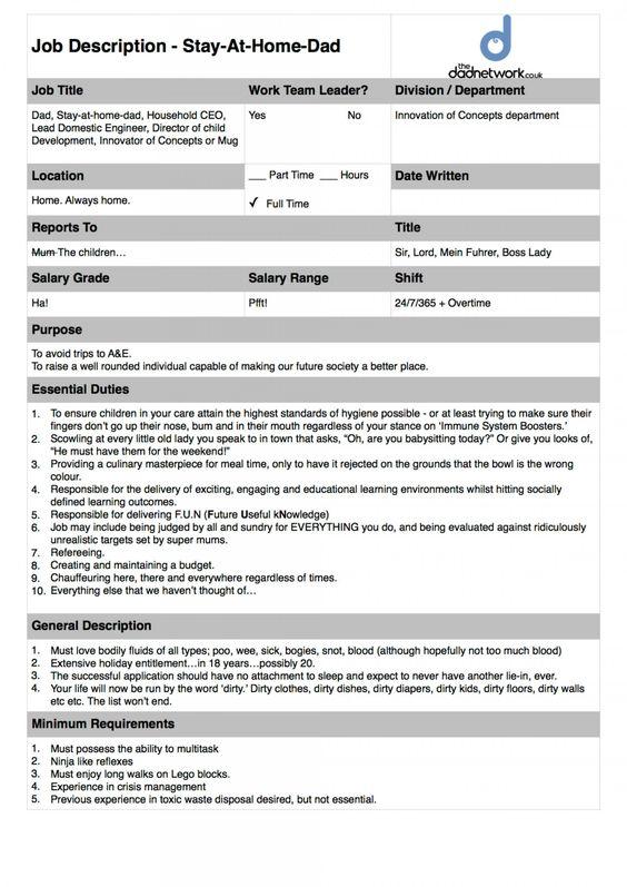 Become a Stay At Home Dad - The Official Job Description - development director job description