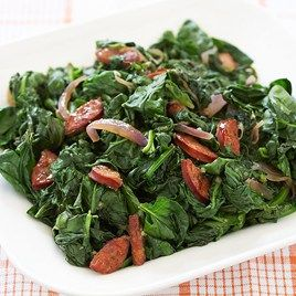 Hearty and healthful, try our Garlicky Greens with Andouille Sausage and Onion.