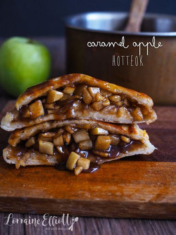 Flipping Amazing - Caramel Apple Hotteok (Korean Pancake Donut)