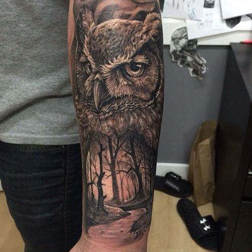 125 Best Owl Tattoos For Men Cool Designs Ideas 2020 Guide Owl Tattoo Sleeve Mens Owl Tattoo Nature Tattoo Sleeve