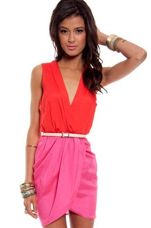 Like Color Blocked Dress in Coral and Magenta $35 at www.tobi.com