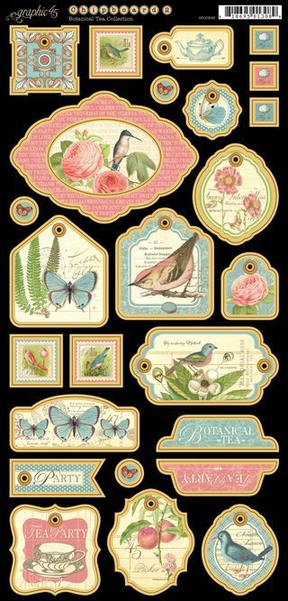 Chipboard Tags 2 from our new collection, Botanical Tea! In stores in early February #graphic45 #newcollections