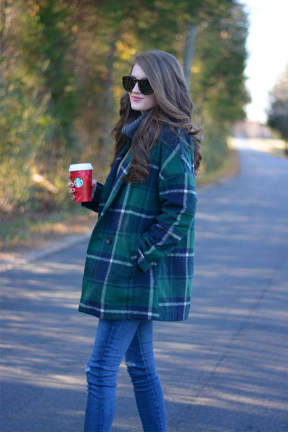 statement coats blue and green plaid