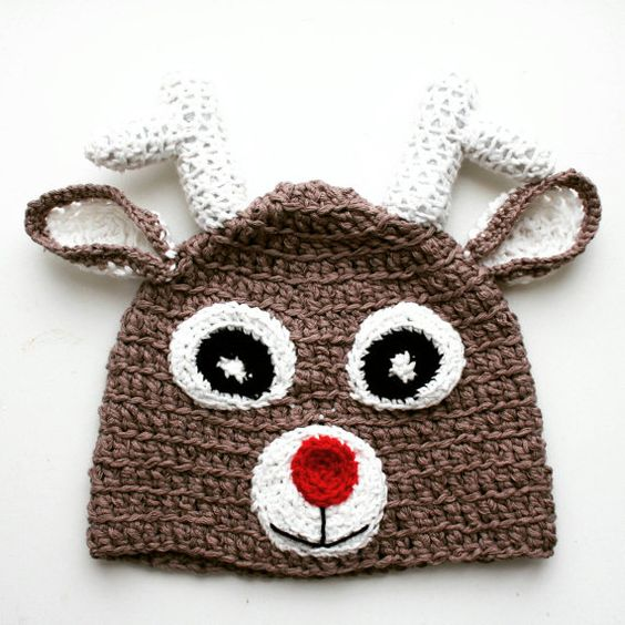 Crochet Christmas Baby Reindeer Hat Baby by KThandmadeDesign
