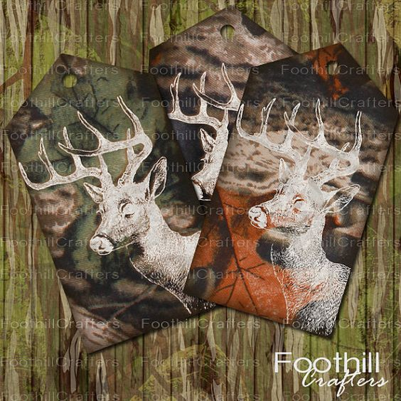 Instant Download, 8 Deer Camo Gift Tags, 3.75 x 2 Inches, Printable Digital Collage Sheet, Deer Hunting, Wildlife Tags, Woodland, Camouflage #camotags #deerhunting #camogirl #mossyoak #realtree #deercamo #deer_gift_tags #holidaytags #deer