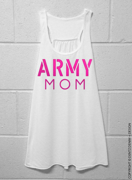 Army Mom White with Pink Flowy Tank Top by DentzDesign on Etsy #mothersday
