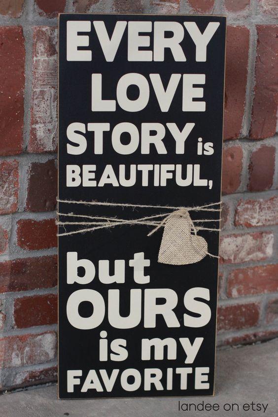 Love Story Wooden Vinyl Sign on Etsy