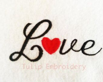 Love embroidery design by idigitize on Etsy