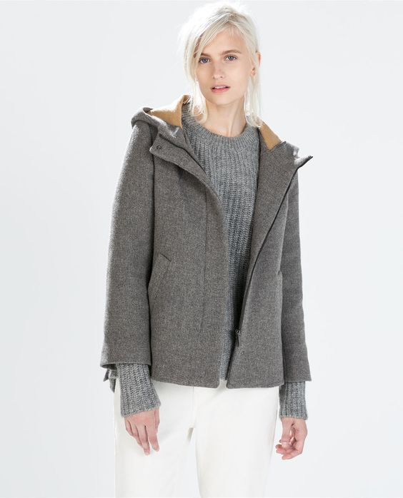 Image 2 of SHORT WOOL JACKET WITH HOOD from Zara | DREAM CLOSET
