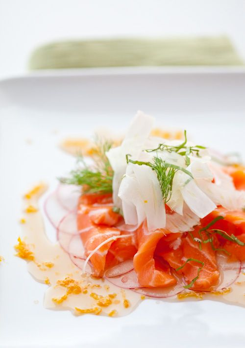 king salmon belly crudo, radish and fennel slices, mandarin gastrique