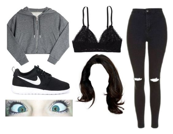 """""""Bralette Outfit #1"""" by jonas-bros02 ❤ liked on Polyvore featuring Aerie, Golden Goose, Topshop and NIKE"""