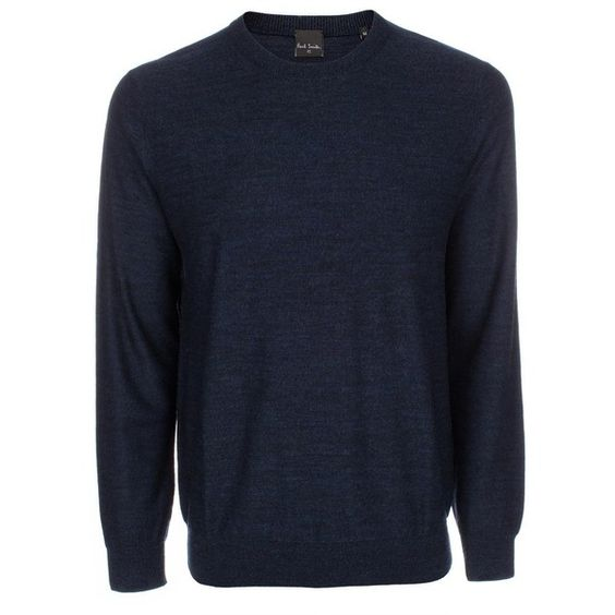 Paul Smith Men's Navy Marl Merino Wool Sweater ($190) ❤ liked on Polyvore featuring mens, men's clothing, men's sweaters and navy