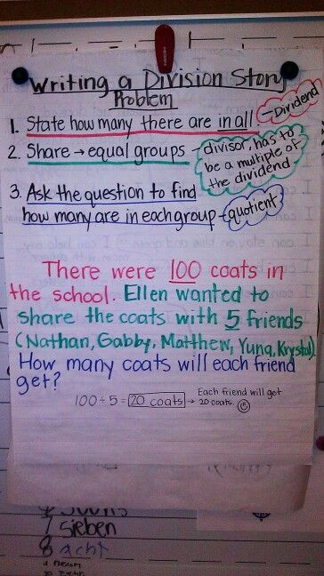 Steps to write a division story problem | Anchor Charts ...