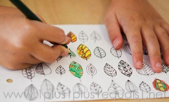 Feuilles d'automne et les arbres colorier imprimables - 1 + 1 + 1 = 1